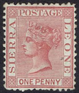 SIERRA LEONE 1872 QV 1D WMK CROWN CC UPRIGHT PERF 12.5