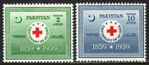 Pakistan 104-105, MNH. Red Cross, 1959