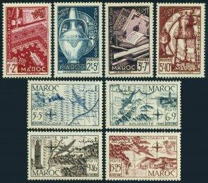 Fr Morocco B44-B47,CB36-CB39,MNH.Michel 307-314.Handicrafts,Maps.SOLIDARITY 1949