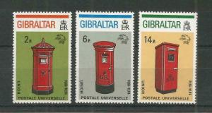 GIBRALTAR 1974 CENTENARY OF U.P.U SG,325-327 U/MM N/H LOT