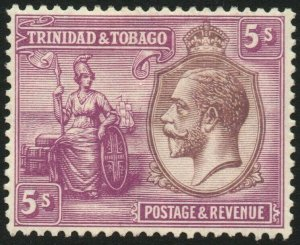 TRINIDAD & TOBAGO-1922-28 5/- Dull Purple & Mauve Sg 228 gum toning MM V48462