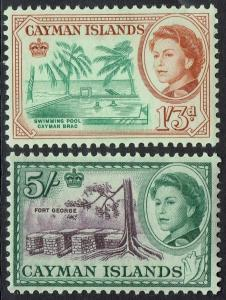 CAYMAN ISLANDS 1962 QEII PICTORIAL 1/3 AND 5/- MNH **