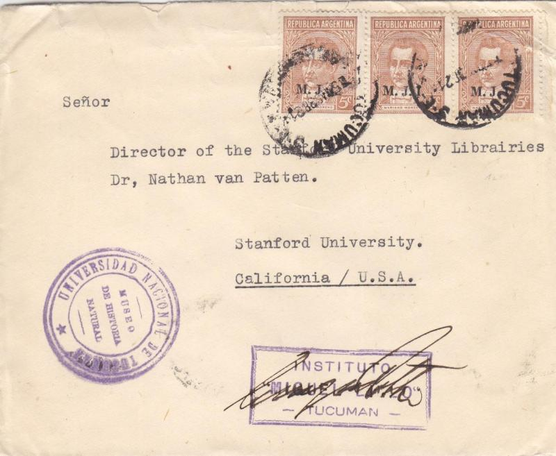 1938, Buenos Aires, Argentina to Sanford Univ., CA, See Remark (26619)