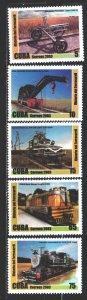 Cuba. 2003. 4532-36. trains. MNH.