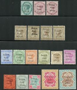 BRITISH EAST AFRICA SCOTT# 54/70 OVERPRINTS ON INDIAN STAMPS   MINT HINGED OG