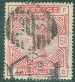 Great Britain Scott 108 Victoria 5 Shilling 1884 CV$210