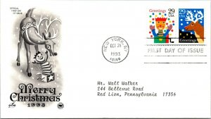Greetings Merry Christmas First Day Cover 1993 cachet