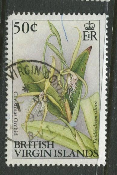 Virgin Is.- Scott 704 -Flowers Issue -1991-2 - Used - Single 50c Stamp