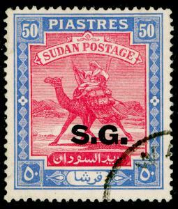 SUDAN SGO58, 50p carmine & ultramarine, FINE USED. Cat £60.
