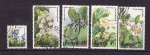 Kenya-Sc#350-4- id2-used set-Flowers-1985-