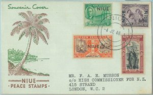 83410 - NIUE  - POSTAL HISTORY  - Cachet FDC COVER  1946 ROYALTY