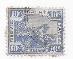Malaya  #62 10c ultra Tiger (U) CV $8.50