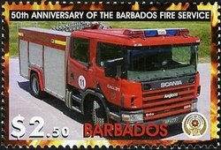Barbados 2005 Red fire truck MNH**