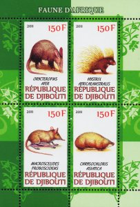 Djibouti stamps 2011 Souvenir Sheet wildlife animals MNH block of 4
