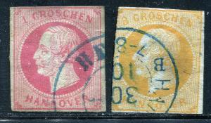 GR Lot 10592 German State HANOVER 1859 Michjel 14 - 1GR & 16 - 3Grr as shown