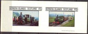 {B219} Bernera Scotland Trains (4) Sh.2 Imperf. MNH Cinderella !!