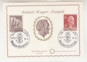 GERMANY,BERLIN, 1955 8pf. Fontane & 4pf. Church on Richard Wagner Festival Card.