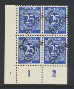GERMANY - SOVIET ZONE  HARTHA BEZIRK 27  1948, 25pf BLOCK VF NH