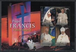 Union Island Grenadines St Vincent 2014 MNH Pope Francis 4v M/S Brazil Visit