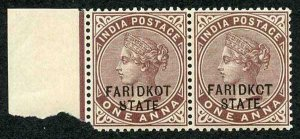 ICS FARIDKOT SG2v 1a Brown Purple Variety KCT Feb 1894 printing U/M