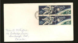 USA 1331-1332 Space Issue 1967 Se-tenant Block of 4 First Day Cover