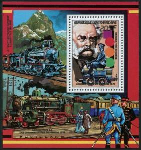 Central Africa 916a deluxe,MNH.Mi Bl.463. Werner von Siemens,1879 Locomotive B.