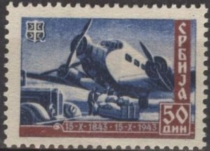 Serbia 2N46 (mh) 50d mail plane, dp blue & red brn (1943)