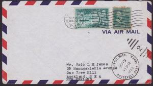 USA 1953 25c rate airmail cover Detroit to New Zealand......................5079
