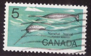Canada Scott 480 Used Narwhal stamp typical cancel