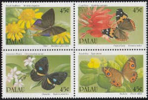 Palau 1990 MNH Sc 245a Block of 4 45c Butterflies and flowers