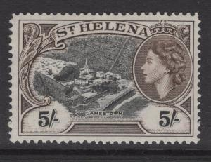 ST.HELENA SG164 1953 5/- BLACK & DEEP BROWN MNH