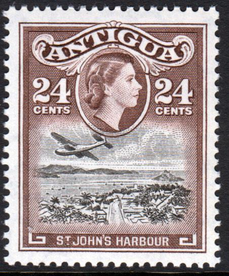 Antigua QEII 1953 24c Black Chocolate SG129 Mint Never Hinged MNH UMM