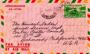 Cameroun 30F Manatee Air Letter 1970 Douala-Yaounde, Cameroun Airmail to Rich...