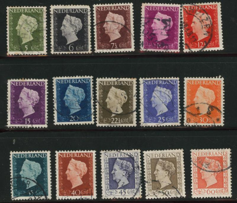 Netherlands Scott 286-300 used 1947-48 Queen Wilhemina set