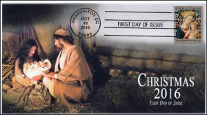 2016, Florentine Madonna and Child, Christmas, FDC, BW, 16-348