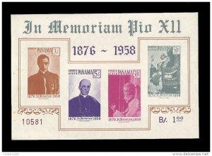 O) 1959 PANAMA, POPE PIUS XII - AS CARDINAL - WEARING PAPAL TIARA - ENTHRONED
