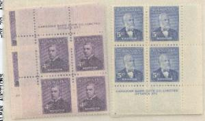 Canada - 1954 Prime Ministers Plate Blocks mint #349-350