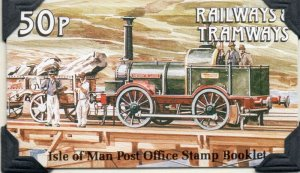 Isle of Man Sc 356a 1989Trains stamp booklet mint NH