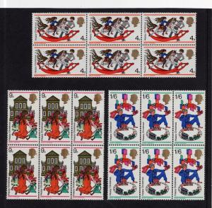 Great Britain  #572-574  1968 MNH Christmas in blocks of 6
