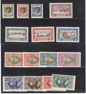 Liechtenstein #82 - #89 & #B4 - #B10 VF Mint Set