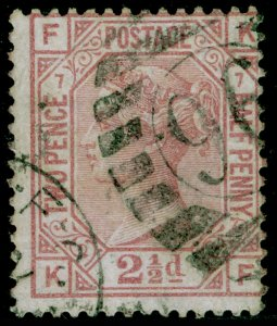SG141, 2½d rosy mauve plate 7, USED. Cat £85. KF