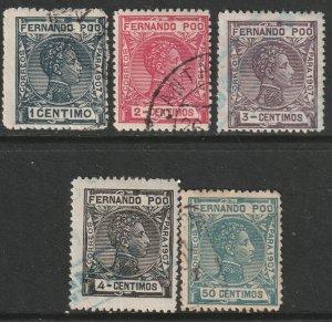 Fernando Po Sc 152-155,160 from set used