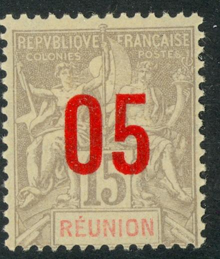 FRANCE / REUNION 1912 5c on 15c Navigation and Commerce Issue Scott No. 100 MH