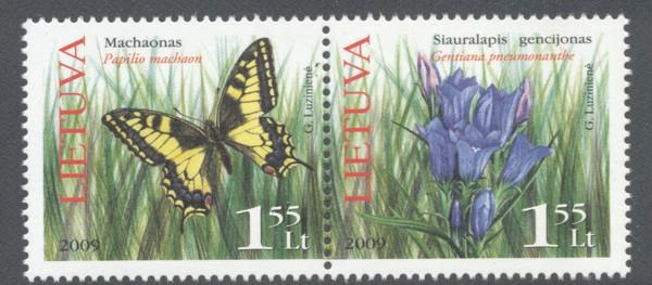 Lithuania Sc 901 2009 Flora Fauna Red Book stamp set mint NH