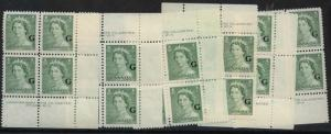 Canada - 1953 2c QE Karsh Ovpt. G Pl Blocks mint #O34