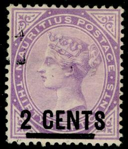 MAURITIUS SG116, 2c on 38c bright purple, FINE used. Cat £45.