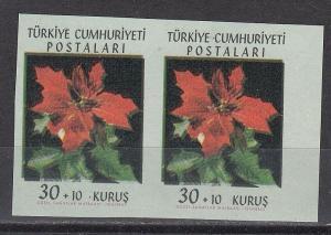 Turkey Scott B90 imperf pair NH (one stamp light bend)