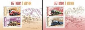 Niger - 2013 - Steam Trains - 2 Sheets of 2 Stamps Each 14A-238