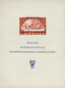 AUTRICHE / AUSTRIA / ÖSTERREICH 1965 Souvenir sheet (NEUDRUCK) WIPA 1933 stamp