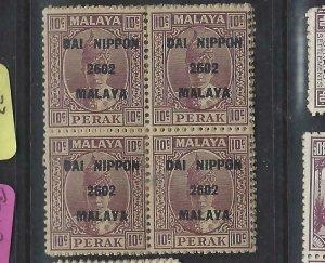 MALAYA JAPANESE OCC  PERAK (P2404B) DN   10C  SG J244  BL OF 4      MNH